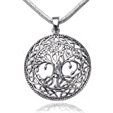 925 Sterling Silver Tree of Life Celtic Knot Pendant on Alloy Necklace Chain, 18 inches