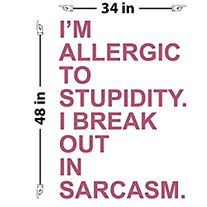 "I'm Allergic to Stupidity Wall Decal (Lipstick, 48"" (H) X 34"" (W))"