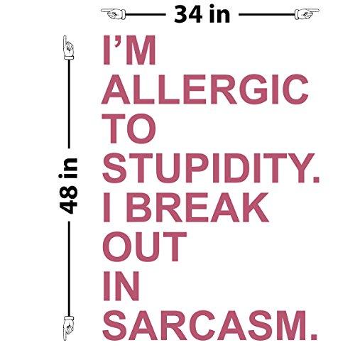 "I'm Allergic to Stupidity Wall Decal (Lipstick, 48"" (H) X 34"" (W))"