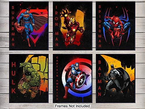 Superheroes Wall Art Print Set - Home Decor for Kids, Boys Room - Great Gift for Batman, Spiderman, Captain America, Wolverine, Iron Man, Superman, Marvel, DC Comic Books Fans- 8x10 photo - Unframed (Marvel Wolverine Pictures)
