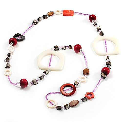 Avalaya Coral, Beige Shell & Wood Bead Long Necklace - 90cm Length