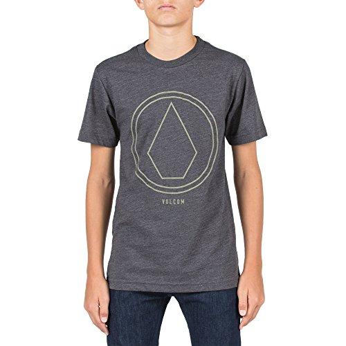 T-shirt Stone Youth (Volcom Big Boys' Pinline Stone Short Sleeve Tee Youth, Heather Black, M)