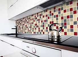 Grandora 2 adhesivos 25,3 x 25,3 cm rojo beige gris topo etiqueta adhesiva Design 12 I 3D diversidad lámina para azulejos y baldosas Cocina de baño ...