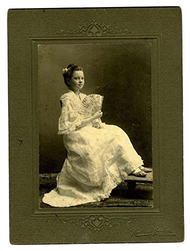 Girl in a Long White Dress Holding a Fan Photo Clinton Missouri