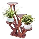 ADIASEN Wooden Flower Stand Plant Display 4 Shelf Storage Rack Indoor Living Room Garden