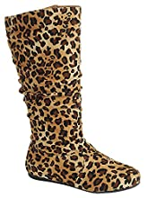 Wells Collection Womens Boots Soft Slouchy Flat to Low Heel Under Knee High, Leopard, 8.5