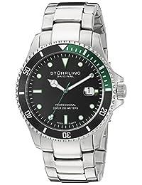 Stuhrling Original Men's 8326B.331171 Aquadiver Regatta Elite Swiss Quartz Diver Date Green Bezel Watch