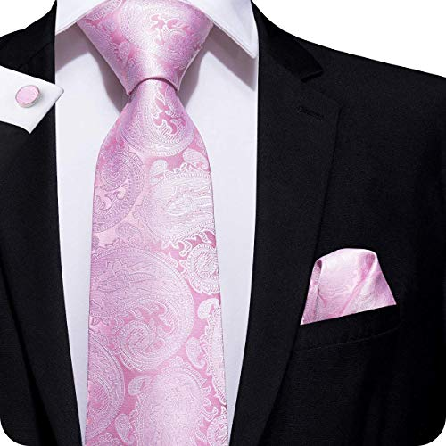 Hi-Tie Men Classic Light Pink Paisley and Floral Tie Necktie and Pocket Square Tie Set