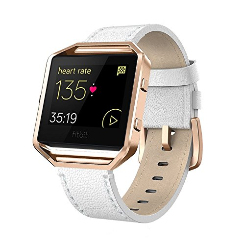 "Fitbit Blaze Bands Leather with Frame Small & Large (5""- 7.1""), AndyouGenuine Leather Replacement Band with Silver/Rose Gold/Black Metal Frame for Fitbit Blaze Women , White Small"