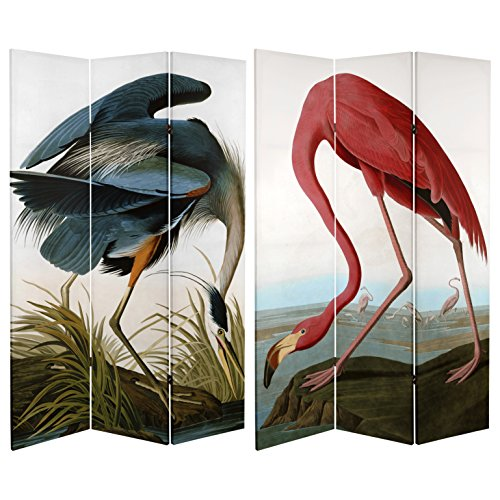 ORIENTAL FURNITURE Tall Double Sided Audubon Heron & Flamingo Canvas Room Divider, 6