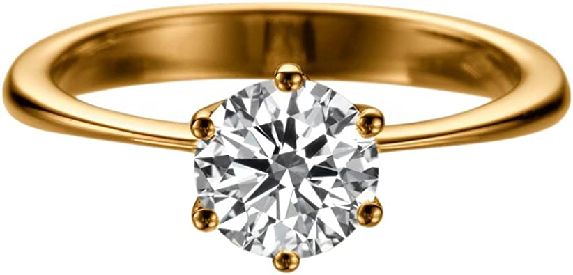 14K Yellow Gold Two Tone Ring 1.50 CT Round Moissanite Center Engagement Ring Moissanite RingPromise RingSimulated Diamond Ring