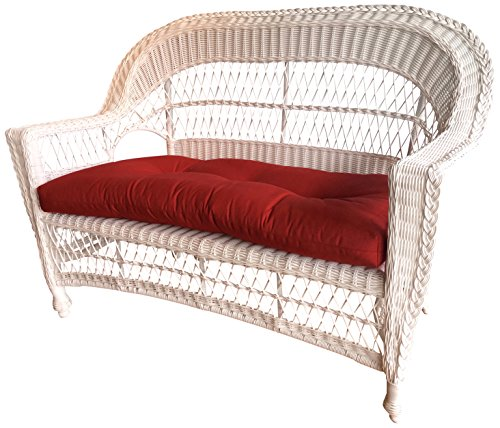 Wicker Paradise CC2-W-Red Madison Outdoor Loveseat, White/Red
