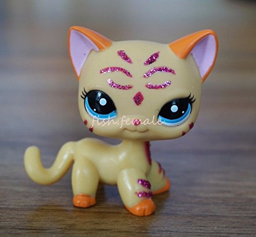 Littlest Pet Shop LPS Purple Glitter Sparkle Standing Ranch Cat Blue Eyes (Signature Husky Webkinz)