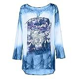 Printing Tops,Toimoth Women Plus Size Long Sleeves Printing Tops Loose Blouse(Blue,4XL)