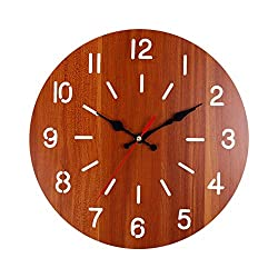 llsmting Wall Clocks for Living Room Wood Home Decor Modern Wood Vintage Rustic Antique Shabby Retro Home Kitchen Room Decor Silent and Durable