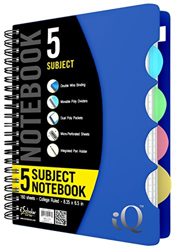 (iScholar 5 Subject Poly Cover Double Wire Notebook, 8.35 x 6 Inches, Cover Color May Vary (58615)160 Sheets)