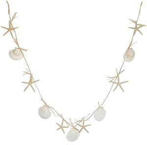 White Finger Starfish & Irish Deep Shells Garland | 6 ft Strand of Beach Garland | Perfect for Nautical Decor| Plus Free Nautical Ebook by Joseph Rains
