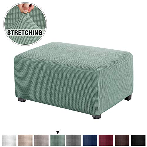 Stretch Spandex Jacquard Rectangle Folding Storage Covers Ottoman Slipcovers High Spandex Small Checks Jacquard Fabric Removable Footstool Protect Footrest Covers (Standard Size, Sage) (Loveseat Length Standard)