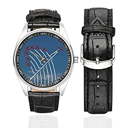 Airplane Decor Casual Leather Strap Watch,Acrobat Little Show Planes in Clear Sunny Sky with Smoke Behind Image for Men,Case Diameter:1.57