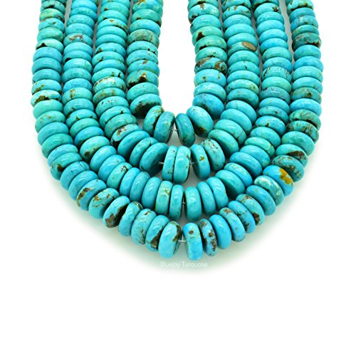 Bluejoy Genuine Natural American Turquoise Graduated Button Bead 16 inch Strand for Jewelry Making (5-9mm)