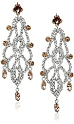 "Betsey Johnson ""Ballerina Rose"" Rose and Crystal Chandelier Drop Earrings"