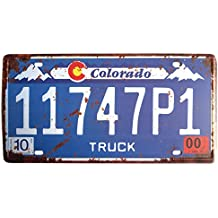 ERLOOD Colorado 11747P1 Retro Vintage Home,Bathroom and Bar Wall Decor Car Vehicle Auto License Plate Tin Sign Embossed Tag Size Home Pub Bar Decor 6 X 12