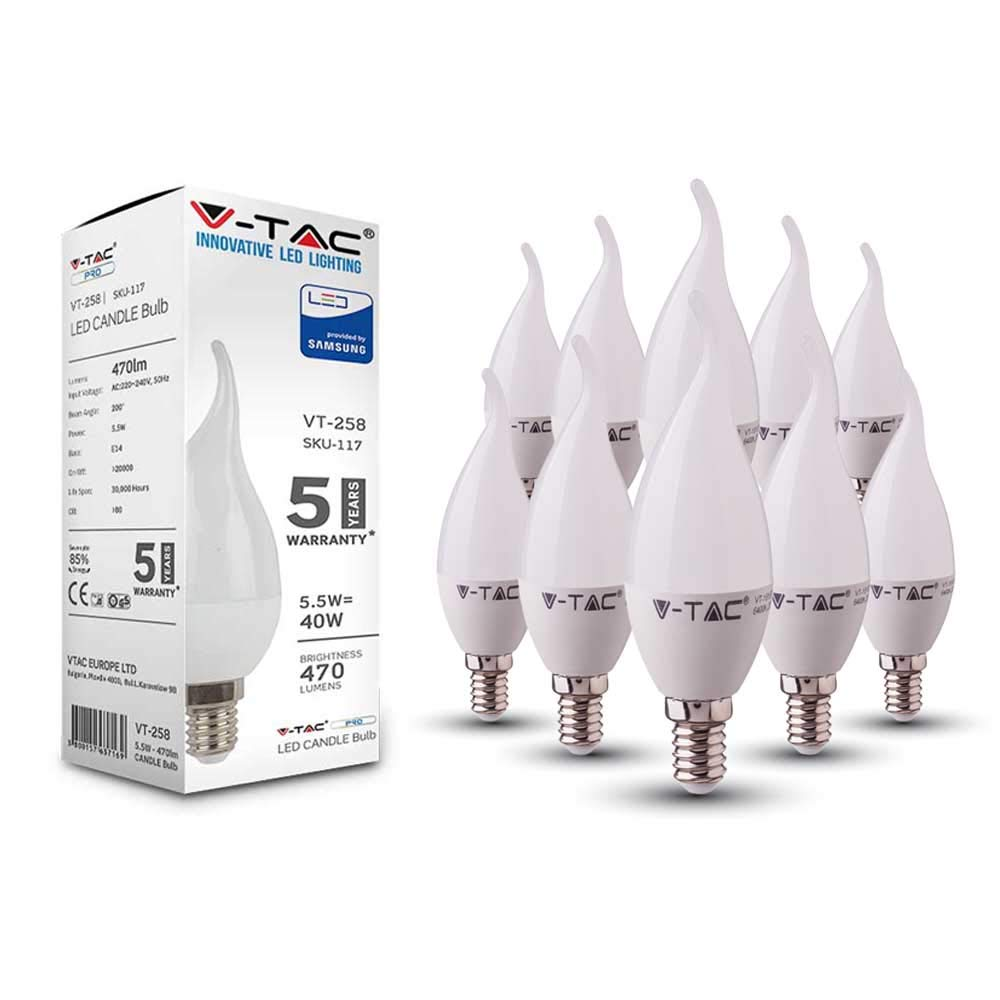 v-tac lampadina LED 7 W a risparmio energetico, con Samsung LED E14 SES (Small Edison Screw Cap), non dimmerabile, classe energetica A + 10 pezzi, 3000k Warm White, 5.5W (Flame Tip) con Samsung LED E14SES (Small Edison Screw Cap)