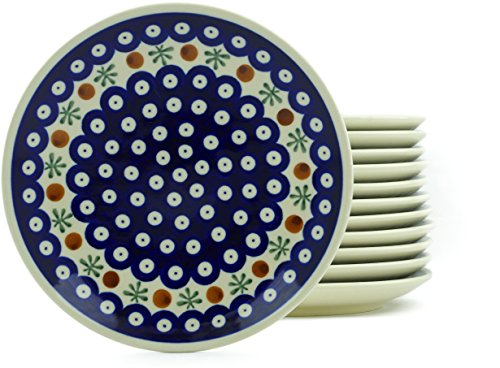 Polish Pottery 7½-inch Set of 12 Plates (Mosquito Theme) + Certificate of Authenticity