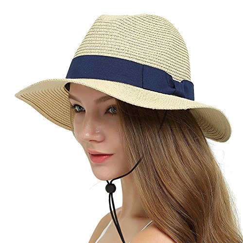Lvaiz Womens Packable Summer Straw Retro Panama Sun Hat SPF 50+ UV Protection Floppy Fedora Foldable Beach Cap with Neck Cord - Straw Retro Hat