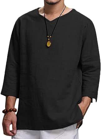 Overdose Camisetas Hombres Blusa De Lino De Color Puro De Verano Nuevo para Hombre Blusa De Moda Cómoda Elegante Tallas Grandes para Bodas Oferta ...