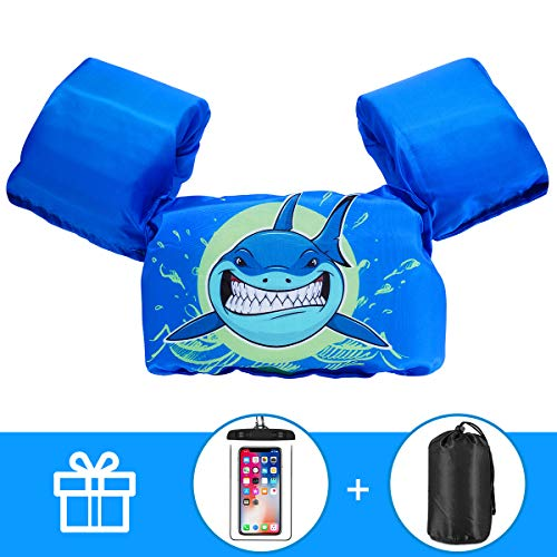 AmazeFan Kids Swim Life Jacket Vest for Swimming Pool, Swim Aid Floats with Waterproof Phone Pouch and Storage Bag, Suitable for 30-50 lbs Infant/Baby/Toddler, Children Puddle/Sea Beach Jumper (Best Life Vest For Swimming)