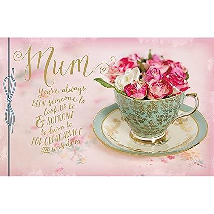 Mamá flores en una taza el día de la madre tarjeta: Amazon ...