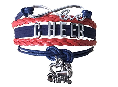 Cheer Charm Bracelet- Infinity Love Adjustable Cheerleading Jewelry in Team Colors for -