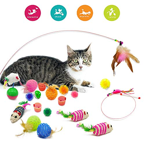 Jmxu's Cat Kitten Toys Assortment, Including Balls with Inside Bell, Feather Teaser Wand, Mice Toys and Springs, Safe Long Lasting Interactive Kitty Toy Set (19 Pack)