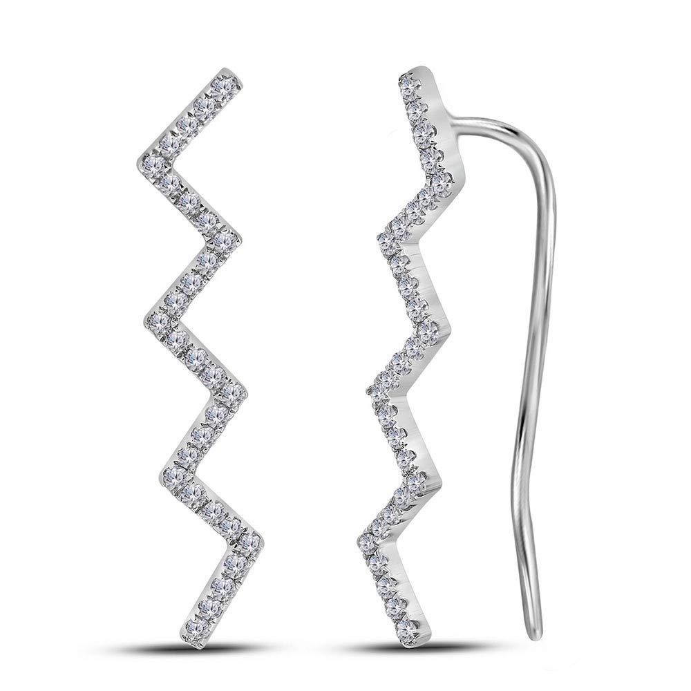 10kt White gold Womens Round Diamond Zig Zag Climber Earrings 1 6 Cttw