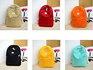 Leng QL Personality Backpacks Fashion Solid Color Knapsack Schoolbag Casual Canvas Travel Backpack