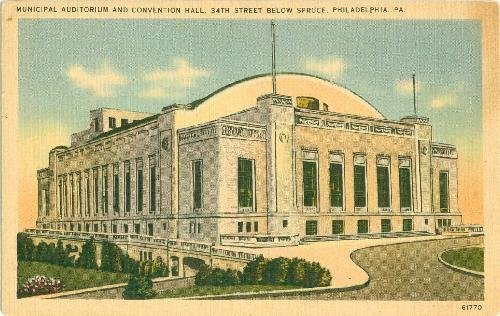 Municipal Hall - Postcard Philadelphia PA Municipal Auditorium Convention Hall Ships from USA