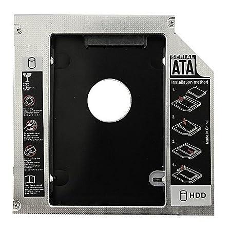 SODIAL(R) Caliente venta Universal Aluminio 12.7mm SATA 2.0 2o Caddy HDD 2.5 pulgada Caja HDD Estuche SSD para ordenador portatil 12.7mm ODD DVD-ROM ...