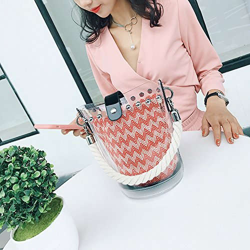 bag bag transparent Korean fashion Blue bucket personality slung shoulder female 2018 version xwYIqvnfIA