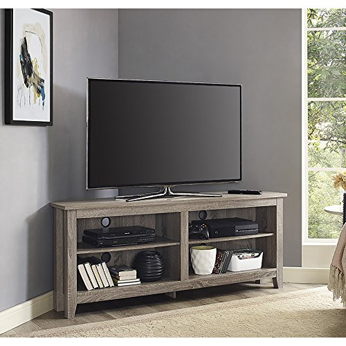 New 58 Inch Wide Driftwood Finish Corner Television Stand (Unit Corner Tv Wood)