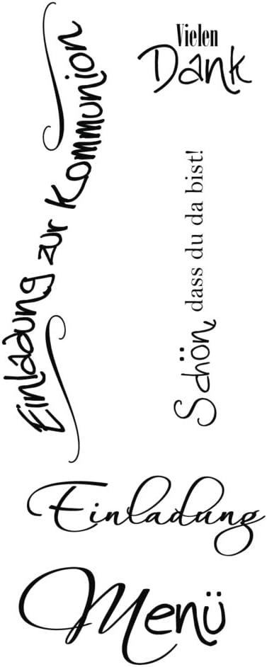 Taufe Rayher Hobby 29115000 Holzstempel Wir Feiern Fest Kommunion 6 x 7 cm Textstempel f/ür Einladungen bei Hochzeit Konfirmation Butterer Schrift-Stempel