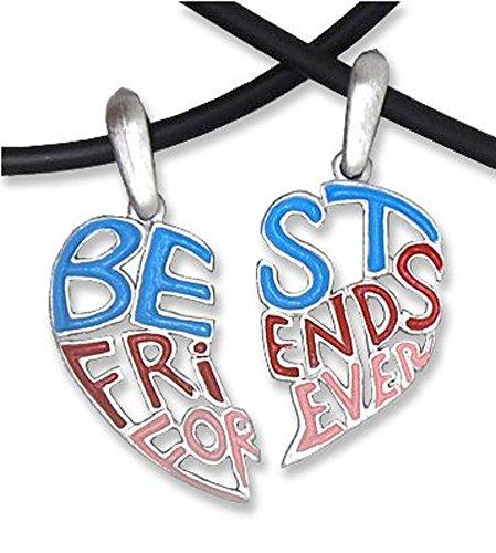 Best Friends Necklace - LIGHT - 2 pendants with 2 chains . BFF - Best Friends 2-piece (Break Apart Charm) Best friends jewelry Best Friends Forever engraved on best friends necklace pendants.