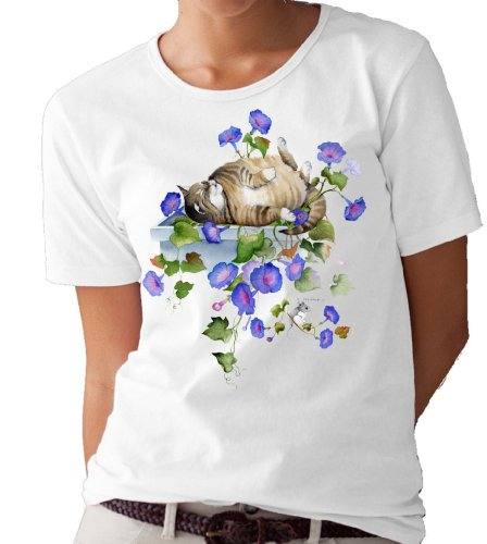 (Morning Glory Cat and Mouse T-shirt/tee by Valerie Pfeiffer - XX-Large)