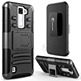 LG Escape 3 Case, LG Phoenix 2 Case, LG K8 Case, TownShop Black Rugged Impact Armor Hybrid Kickstand Cover with Belt Clip Holster Case For LG K8 / LG K350N / LG Escape 3 / LG Phoenix 2
