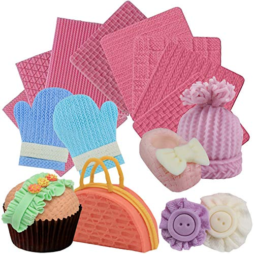 (Funshowcase Weave Knitting Silicone Mold Texture Stamp Mat 8-in-Set Bundle for Sugarcraft Cake Border Decoration, Cupcake Topper, Polymer Clay, Soap Wax Making Crafting Projects)