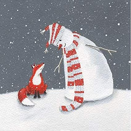 Pack of 8 Snowman & Fox The Donkey Sanctuary Fairdeal Charity Christmas Cards: Amazon.es: Oficina y papelería