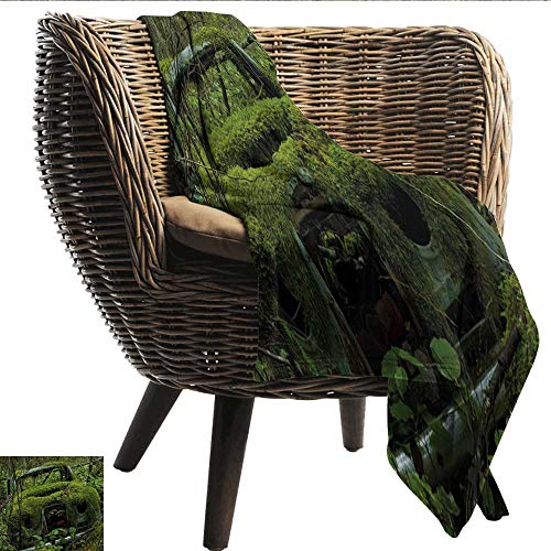 EwaskyOnline Nature Blanket Custom Photo Old Abandoned Forest with Moss and Fourties and Fifties Car Art Photo Recliner Throw,Couch Throw, Couch wrap 80