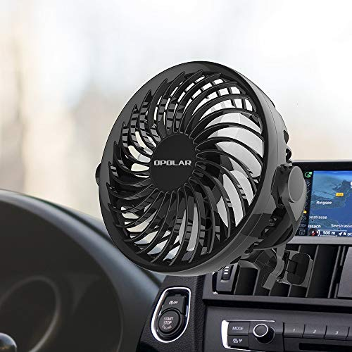 OPOLAR 2019 New Mini Car Fan (USB Powered Only), Multi-Directional Clamp, Four Speeds, 360 Degree Rotation, Portable Vehicle Cooling Fan for Car Front&Back Seat, Ideal for Driver Passenger Baby Pet