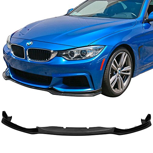 - Front Bumper Lip Fits 2014-2019 BMW 4-Series F32 F33 F36 M Sport | E Style Unpainted Raw Material Black PU Finisher Under Chin Spoiler Add On by IKON MOTORSPORTS | 2015 2016 2017 2018