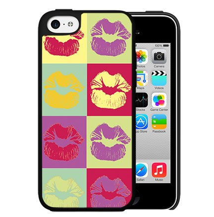 Kisses Pucker Lips Colorful Background Art Hard Snap On Case Cover (iPhone 5 5s)